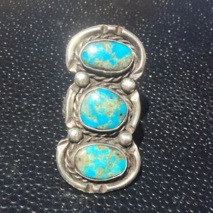 Vintage Navajo silver turquoise ring sz 7